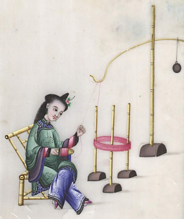 Woman spinning silk, courtesy of the Winterthur Library