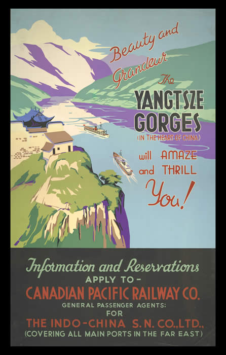 Grandeur-The Yangtze Gorges, Canadian Pacific Railway Poster, courtesy of University of British Columbia Library