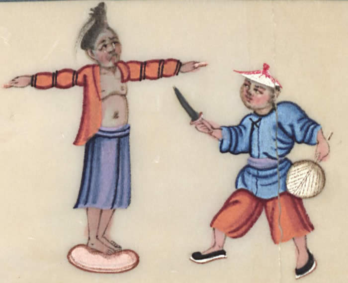 Man being flayed, courtesy of the Winterthur Library